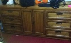 Wooden Furniture Set includes Night Stand Dresser with 9 drawers TWO Lamp Tables for 320 $ email ME !!! or call 778 985 6560
