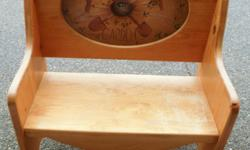 """Small garden or foyer bench. Hand painted oval insert. Measures 33"""" wide. Email or phone."""