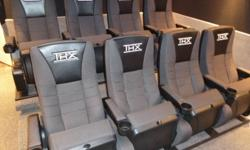 Complete your Home Theater room with real theater seats to complete the movie experience!   Complete Set of 8 brand-new genuine/actual theater seats, commercial quality.    These are a very comfortable high-back cloth seat with embroidered leatherette