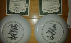 """Two Bradex Plates - give as a gift for a baby shower for single or twins - two plates ... NEVER been taken out of boxes/hung - plates + frames - diameter = 8"""" - fine porcelain - worth approx $140 for both 84-B10-91.3 94 TIMELESS TREASURE 84-B10-91.1 94"""