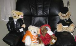 Four collectible bears, three with original tags. Great condition. 1999-2002.