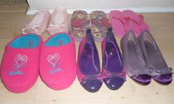 My daughter's feet have grown too fast so most of the shoes are new or nearly new. 1st picture: pink ballet slippers, 13-1 - $5 purple butterfly sandals, size 11-12 I think - $2 pink flip flops, size 10-11 - $2 barbie slippers, size 13-1 - $2 purple bow,