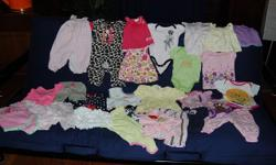 From Very good used condition (VGUC) to Excellent used condition (EUC) 28 clothes: - 1 PJ - 1 swimsuit - 1 short sleeves shirt - 2 top (no sleeves shirts) - 2 top/dresses - 2 dresses - 3 rompers - 10 short sleeves onesies - 3 pants - 1 overall - 2 shorts