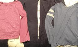 2 pairs size 8 pants, 2 size 10-12 long sleeve shirts. All in excellent shape. $10 for the lot.