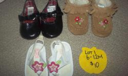 Everything is in excellent condition come from smoke free low scent home. Sold in lots, a lot of these are in excellent condition. Price reflects shape $10 6-12M Gap/Children's place $20 Size 3 Stride rite/Gap/Barefoot $20 Size4 Gap/Gymboree/Please