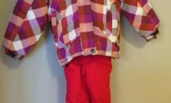 Girls winter jacket size 5 and ski pants size 6. Excellent condition, from a pet and smoke free home. Will sell as a set for $35 or jacket for $20 and ski pants for $20.