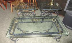 Glass coffee table, plus 2 end tables. Good condition. (please note - items are located in Central Saanich)