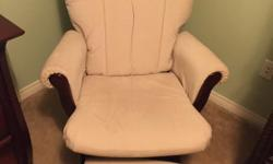 EUC - no stains, smoke free home. Dark wood with ivory cushions and a footstool.