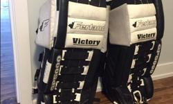 """-32"""" ferland pads. older style, great shape. would be good for someone new. Perfect for ball hockey $100 -Vaughn 7500, less than two seasons on them. could still use a little braking in, excellent condition $400 o.b.o (set) Goalie jerseys, $5 each (black"""