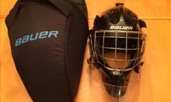 """Bauer NME 8 Senior goalie helmet, Fit 2 Medium (hat size 6 7/8"""" - 7 1/4"""" will fit 7 3/8"""" with straps maxed out and not tight on sides). Used a couple seasons, excellent condition, gel pads are all excellent. includes bag and clear dangler. bought new 2016"""