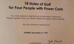 Gift Certificate STOREY CREEK for FOURSOME - 18 holes including power cart. Value $320. Expires Dec 2016 Won at tournament and can't use. Asking $180.00. Call or text 250-300-5142
