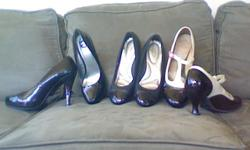 All are in good shape. John Fluevog pumps, size 11 Guess pumps, size 10 Dexflex, ballerina maybe, or wedge, I can't decide, size 10 Check out the pictures, it is a tiny shoe heaven!