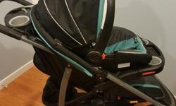 Both stroller and infant seat with newborn insert. Manufactured Aug 2013. Infant seat expires Aug 2020 based on Transport Canada. $400 new currently at Toys R Us on sale. Stroller has inflatable tires.