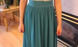 """Beautiful teal """"Symphony of Venus"""" long dress from The Bride's Closet. Gorgeous cream lace overlay on bodice and elegant flowing skirt. Thin or thick straps are removable, giving you the versatility of three different looks. Size 6, but fits more like a"""