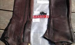 Near New, used twice, Grand Prix Half Chaps - $125 Gran Prix Chaps are brown - 17 inches tall and have a 13 inch calf. Nice to ride in on a hot day.