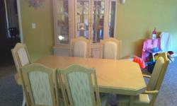 White washed Oak Dining Room Table, Chairs (6) - and Hutch - China Cabinet - SOLD AS A PACKAGE ONLY. Just went through a divorce / my loss - your gain - giving it away at this price / but it has memories I'd rather forget. Modern looking - new price was
