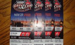 I have 4 Grey Cups Tickets for the upcoming game in Vancouver BC on November 27, 2011.  Sec. 451 Row BB $350 each or $1400 for all 4