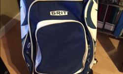 Blue & White Grit hockey bag with wheels. The bag is in good condition however I recommend you use it with a player under the age of 14 as the equipment was getting hard to fit. We replaced it due to size.