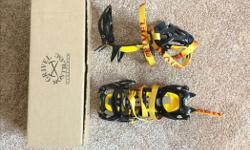 I got these for Christmas a few years back when I was getting into mountaineering, but I never ended up pursuing it as a hobby. These crampons have sat with my camping stuff and have never left the box. I'd love for them to actually get some use from
