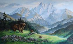 Beautiful original oil painting by a local artist painted on 1/2 inch by 4 ft x 8 ft. plywood/canvass. Mounting brackets included. Perfect gift for the outdoor adventurer. Reasonable offers will be considered