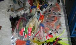 HALIBUT and TUNA FISHING LURES. I have halibut and tuna fishing lures from $1.50 to $10.00 each There are several with curved hooks and braided steel leaders. The most are from $3.00 to $7.00 each. In very good to like new condition Its a house number so