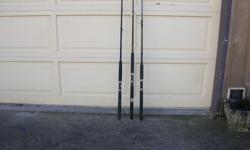 (((Open this ad to view all that is listed.)) HALIBUT FISHING RODS. $60.00 - SHAKESPEARE UGLY STIK BWB 1140 6 ft. 6 in. 1 pc. Action MH. 20 - 50 lbs. line. $60.00 - PENN SLAMMER SL 2050C 6 ft. 6 in. 1 pc. 20 - 50 lbs. line. $60.00 - TROPHY TCP CHARTER PRO