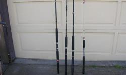 (((Open this ad to view all that is listed.)) HALIBUT FISHING RODS. $50.00 - SHAKESPEARE UGLY STIK BWB 1140 6 ft. 6 in. 1 pc. Action MH. 20 - 50 lbs. line. $50.00 - PENN SLAMMER SL 2050C 6 ft. 6 in. 1 pc. 20 - 50 lbs. line. ((SOLD)) - TROPHY TCP CHARTER