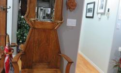 """Antique Hall seat Over hundred years old 81"""" Tall 33"""" Wide 15"""" Deep EXCELLENT CONDITION"""