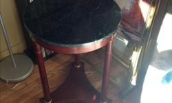 """18"""" round hall table. Green marble top and brass accents. $30. 250-498-3090"""