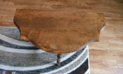 """Lovely little hall table which has just been refinished. The finish is wood oil which allows the nature beauty of the wood to show. Table measures 24"""" high by 23"""" wide by 11"""" deep. All solid wood, no pressed board or such like in this piece."""