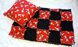 """For Sale: Patched fleece with small fringe Black and Red with Dalmatian dog print Blanket Size: 59"""" x 45"""" Pillow Size: approx 17"""" square Please email if you are interested or have any questions. Thanks for looking!"""