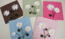 """Daisy card $7.00 Card 4.10/16"""" x 4.10/16"""" Envelope 4.14/16"""" x 4.14/16""""   Each card is lined with white paper and is blank on the inside, perfect for writing your personal message.    Also available in 4.10/16"""" x 4.10/16"""" in yellow, and 4.2/16"""" x 5.13/16"""""""