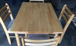 Solid hardwood table (maple?) and 4 chairs. Good condition.