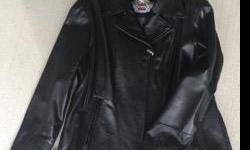 Genuine Harley Davidson black leather jacket. Embroidered logo at sleeve and studded logo on back. Zips at sleeve and sides. No padding. Brand new never worn. Ladies XL.