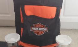Harley Davidson Rolling Cooler Back-Pak Bag and two hot-cold glasses, X-Mas coming for the Guy or Gal