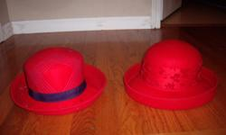 red felt hats. originally from theladies red hat club. 5.00 EACH