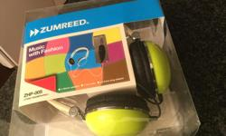 Zumreed headphones. Never used, Brand new in box, was a gift. Colour: Lime Yellow, model- ZHP-005. Nice! Please text me if interested. 604 328-0570