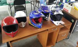 Motorcycle, Bmx , Dirt ,etc. Three helmets for motorcycles in new condition. Two Bmx , Two dirt bike helmets. Sizes xs to large. offers.