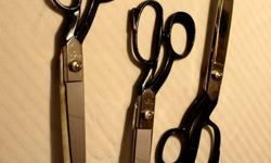 """Three pair of large Henckel tailor's scissors: one pair - #43488 and two pair - #167/10, all three with 5"""" blades. These scissors are about 40 years old, haven't been used for 20 yrs. and are in surprisingly good condition. All three pair for $50. or $20."""