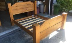 this is such a beautiful bed made from solid pine and only takes less than a minute to assemble. it was around 1500 new and still looks new. its from a very clean non smoking no pets home. I can deliver. 250 208 3174