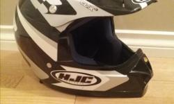 HJC CL-X3 off road helmet in great condition. This helmet has never seen an accident . Text or call with any questions. (Note: three-year-old not included.)
