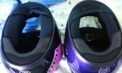 1. Top Vent 2. Rubber Band 3.  Face Shield 4.  Bottom Vent 5.  Chin Curtain 6.  Chin Strap 7.  Neck Curtain 8.  Comfort Padding 9.  Top Padding 10. Impact Absorbent Liner   65$ For each helmet or take the pair for 100$ call 893-1037 or email