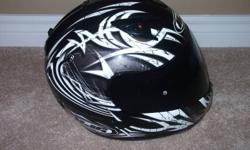 Black HJC helmet for sale, comes with tinted visor and clear visor. $50.