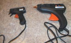 a 3 piece glue gun set, 2 sizes of glue guns and case, no glue sticks............10.00   a small soldering iron and solder..............5.00   case of assorted electrical connections in plastic case...........8.00