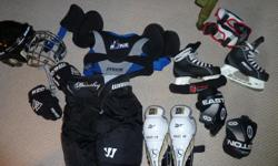 Variety of items -- gloves, pads, skates. helmet : 5-15 each or best offer