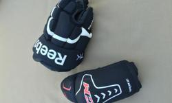 Used only one season. Gloves size 11 Elbow pads. Children's medium. Used in Atom level