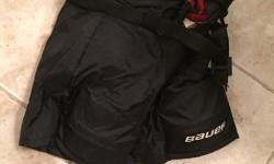 Size medium Bauer hockey pants -$15. Size small Bauer jock - $10