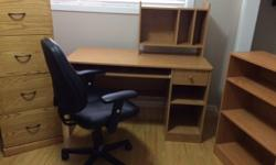 """4 drawer legal size Oak Filing cabinet 18"""" D x 18"""" W x 52"""" H excellent condition (like new) $100 filing cabinet Oak laminate desk with removable hutch 23"""" D x 50"""" W x 29"""" H Hutch is 19 1/2"""" H x 9 1/2"""" D x 25"""" W with black stool (very good condition) $85"""