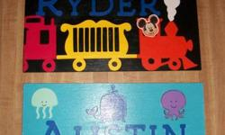 Ready in 1-2 days so still in time for Christmas presents!  Name plates personalized to whatever your child's interests and favourite colours are :)  Have a look at my samples. I can also do dinosaurs, country, rockstar, emergency vehicles, animals,