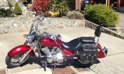 2008 Honda Shadow 750, 26,000kms. Windscreen, sissy bar, leather saddlebags. Excellent condition.